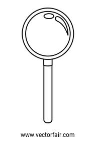 magnifying glass icon cartoon isolated black and white
