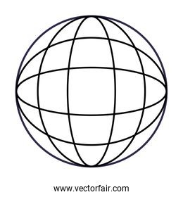 abstract figure of a globe black and white