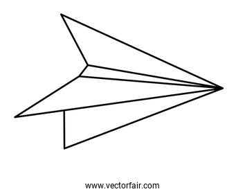 paper plane icon cartoon isolated black and white