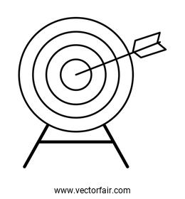 target with a arrow on middle black and white