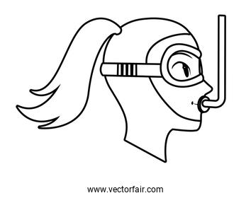 snorkel diving avatar cartoon character black and white