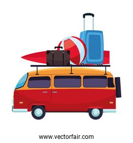 Retro van with surf table and luggage