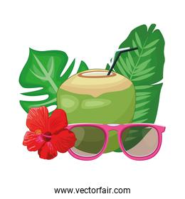 Coconut cocktail with sunglasses and flowers