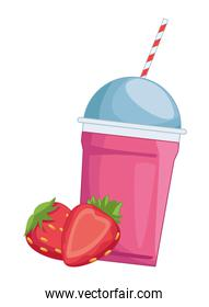 Milkshake cup with straw and strawberries