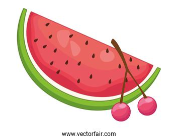 Watermelon and cherries delicious fruits