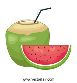 Coconut cocktail and watermelon sliced fruit