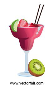 Tropical fruit cocktail icon cartoon