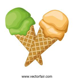 Ice cream with scoop in waffer cones