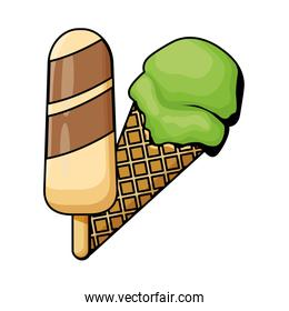ice cream cone and ice lolly