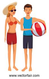 Young couple in summer cartoons colorful