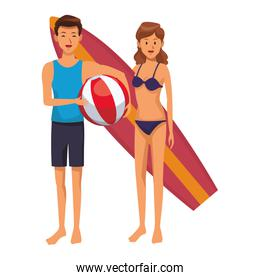 Young couple with surf table cartoon colorful