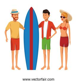 Friends with surf table summer cartoons colorful