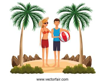 Young couple in summer cartoons
