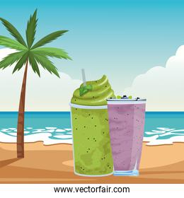 fruit tropical smoothie drink cartoon