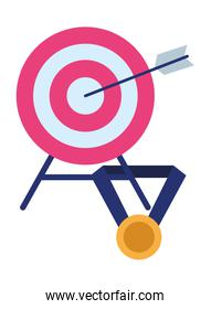 target with medal icon cartoon