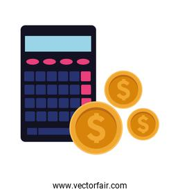 calculator with money coins icon