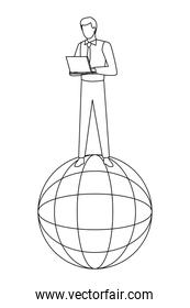 globe world sphere icon cartoon in black and white
