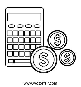calculator with money coins icon in black and white