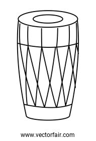 drum mridangam icon cartoon isolated in black and white