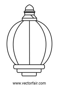 lantern icon cartoon isolated in black and white