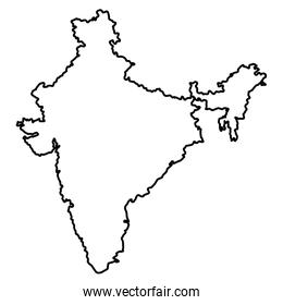 map of india icon cartoon in black and white