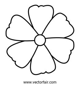 flower icon cartoon in black and white