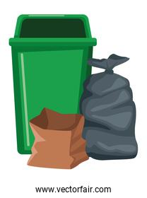 garbage can and bag icon