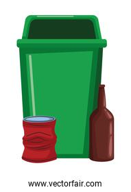garbage can and glass bottle