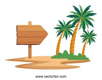 wooden sign and palms icon cartoon