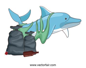 sad dolphin with garbage bags