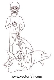 scuba diving avatar cartoon character in black and white