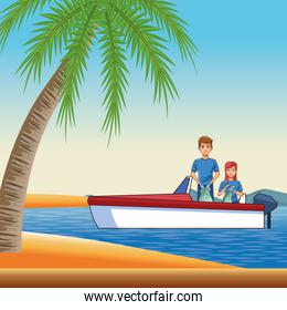 boat boarding with two person
