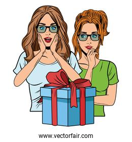 young women with a gift box