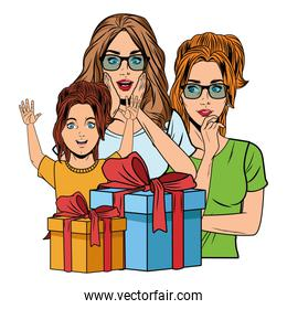 women and girl with gift box