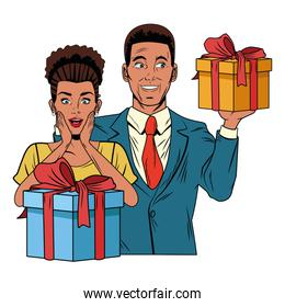 couple avatar with gift box