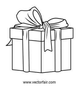 gift box with ribbon icon in black and white pop art