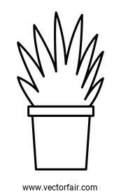 plant pot icon cartoon isolated in black and white