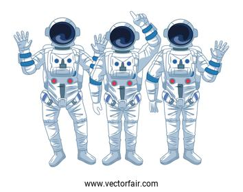 Astronauts team and space explorations cartoons