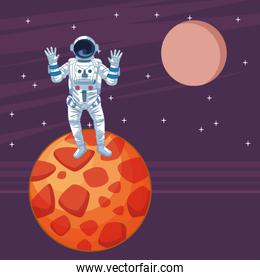 Astronaut in space exploration cartoons