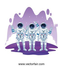 Astronaut in space exploration cartoons isolated