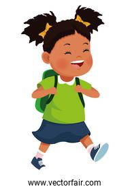 School afro girl with backpack