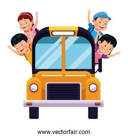 School kids greeting from bus