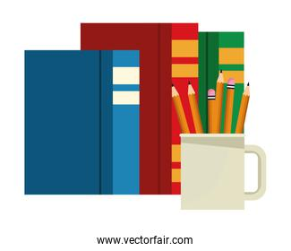 Books and pencils in cup