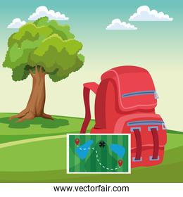 Travel backpack with adventure map