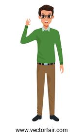 Young man with formal clothes cartoon