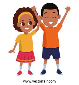 Afroamerican sister and brother smiling cartoon