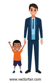 Single father with little son cartoon