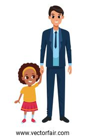 Single father with little daughter cartoon