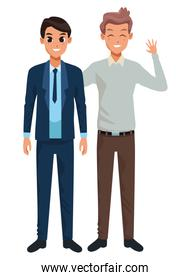 Family father with adult son cartoon