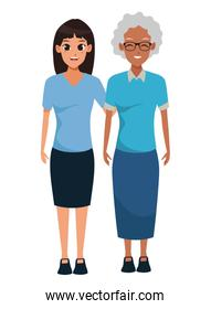 Mother and adult daughter together cartoon